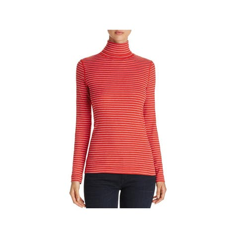 Three Dots Womens Diane Turtleneck Top Striped Long Sleeves