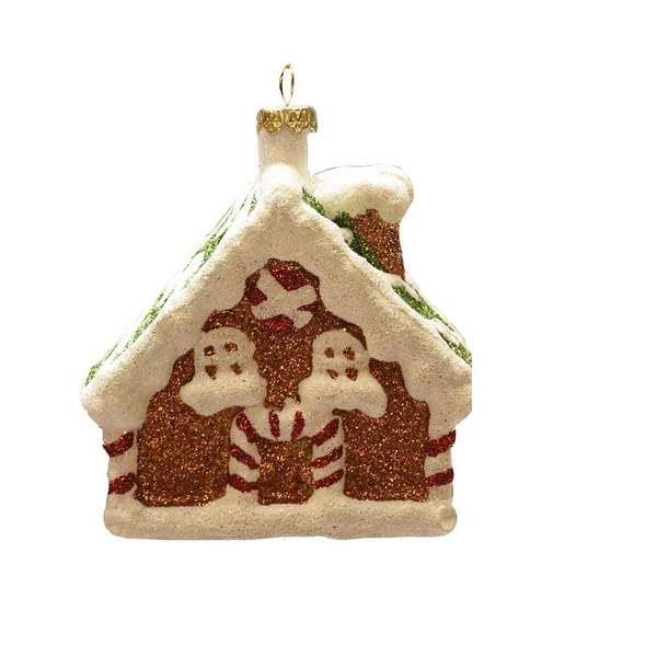 """3.75"""" Merry & Bright White and Brown Glitter Shatterproof Gingerbread House Christmas Ornament"""