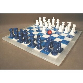 WorldWise Imports MF1BL Blue and White Alabaster Chess Set by Scali