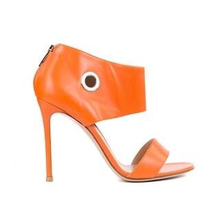 Gianvito Rossi Orange Leather Grommet Sandal Heel