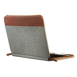"SettonBrothers 13"" Laptop Sleeve, Padded interior + Exterior Pockets - Light Grey