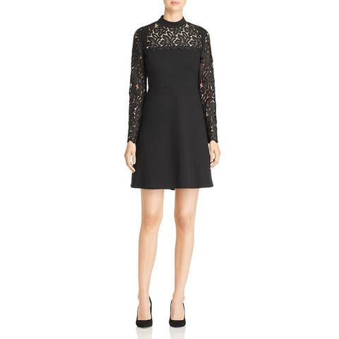 Elie Tahari Womens Jenessa Scuba Dress Lace Mock Neck - Black