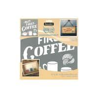 Decoart Americana Adh Stencil 10x10 But 1st Coffee