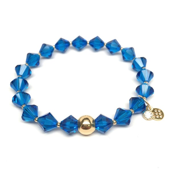 "December Birthstone Color Blue Crystal Rachel 7"" Bracelet"