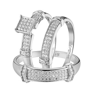 His Her Mens Womens CZ Rings Trio Set Wedding Rings Sterling Silver Square Face
