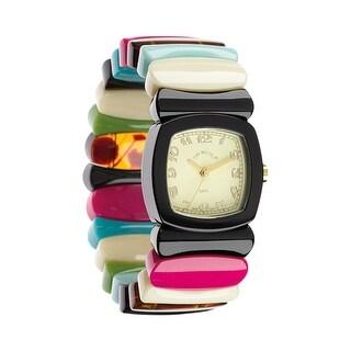 Floriana Women's Wrist Watch - Acrylic Multi-color Stripe Stretch Band