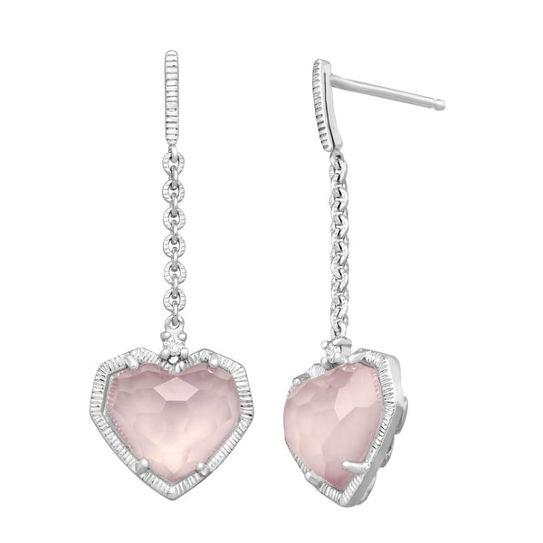 4 5/8 ct Natural Rose Quartz Heart Drops with Diamonds in Sterling Silver