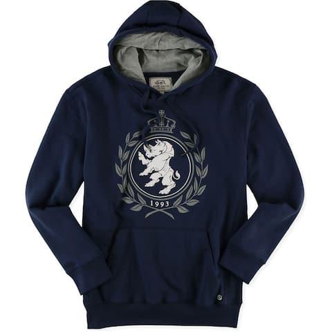 Ecko Unltd. Mens Crown Lion Popover Hoodie Sweatshirt, Blue, X-Small