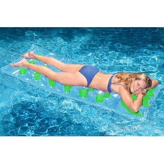 """76"""" Inflatable Blue and Green 18-Pocket French Style Swimming Pool Air Mattress"""