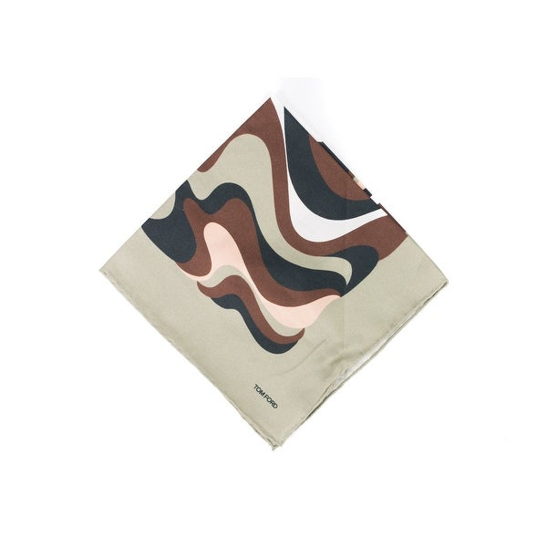 Tom Ford Men's Taupe Brown Abstract Swirl Print Pocket Square