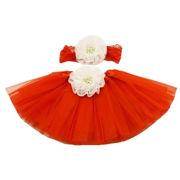 2a691f89c5 Shop Girls Red White Pearl Flower Tutu Skirt Lace Headband Gift Set 0-8Y - Free  Shipping On Orders Over $45 - Overstock - 18169086