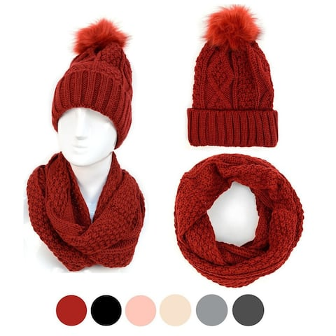 Solid Color 2pc Knit Hat & Infinity Scarf Winter Set For Women - Regular
