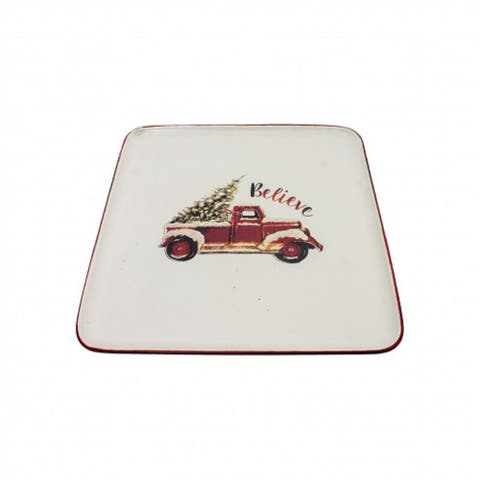 """9.50"""" White and Red Small Square Plate with Truck Design"""