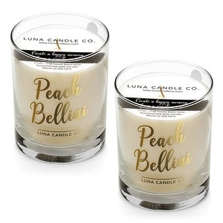 Peach Belini Candle, Hints of Apricot, Mango, Jasmine, USA (2 Pack)