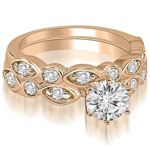 1.15 cttw. 14K Rose Gold Antique Round Cut Diamond Bridal Set