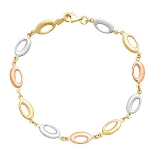 Just Gold Oval Stylized Link Bracelet in 10K Three-Tone Gold