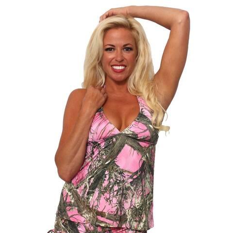 Women's Pink Camo Authentic True Timber Bikini Tankini TOP ONLY Beach Swimwear