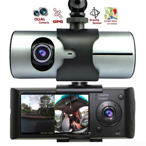 "Indigi® XR300 CarDVR (Front+Rear) Dual Camera DashCam Driving Recorder w/ 2.7"" Split LCD + GPS Tracker + 32gb microSD Included"