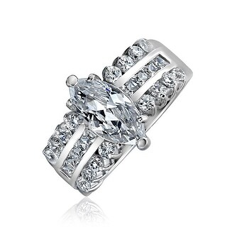 Bling Jewelry Sterling Silver Triple Row 2ct CZ Marquise Engagement Ring