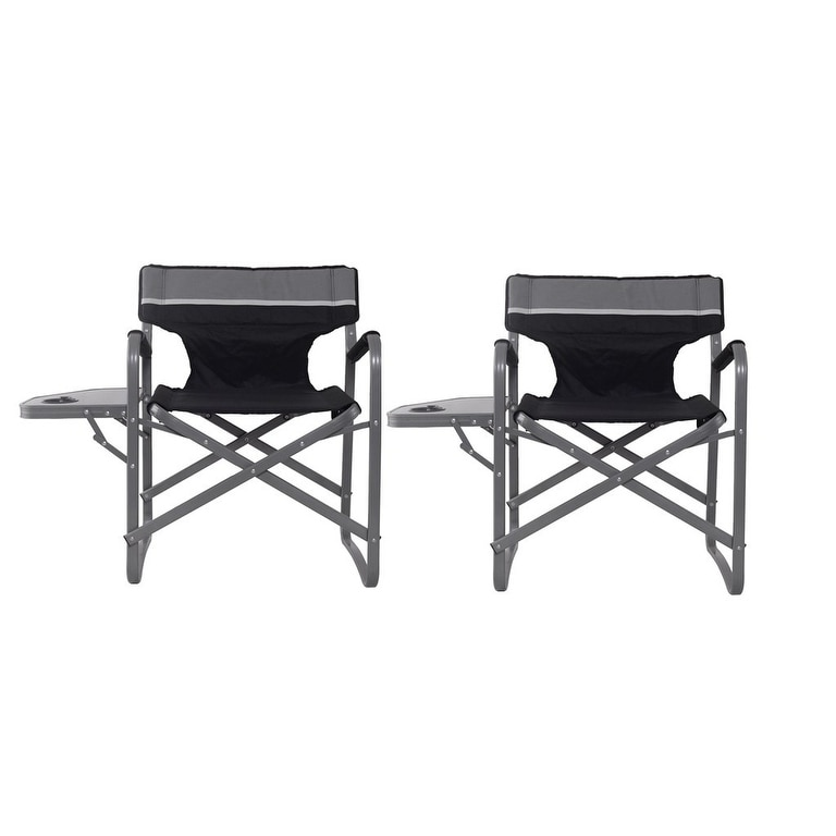 Costway 2pc Folding Director Chair W Side Table Cup Holder