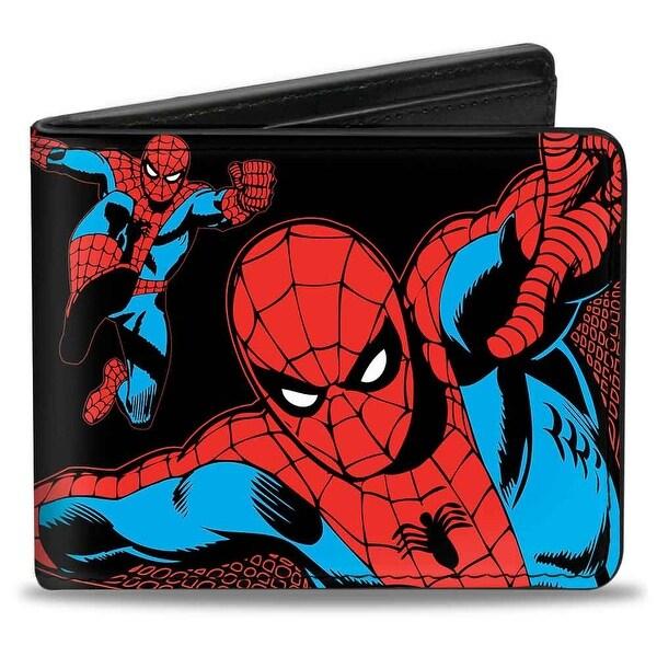 Marvel Comics Spider Man Action Poses Black Bi Fold Wallet - One Size Fits most