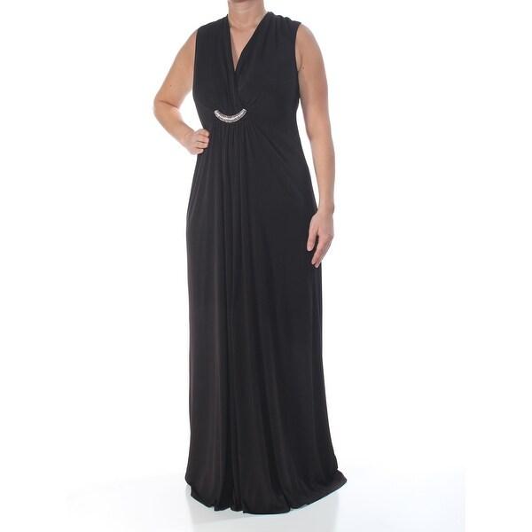 JESSICA HOWARD Womens Black Draped Rhinestone Gown Sleeveless V Neck Full-Length Evening Dress Size: 14