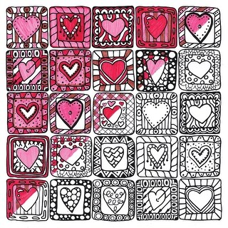 """Adult Coloring Canvas 12""""X12"""" W/12 Markers-Square Hearts"""