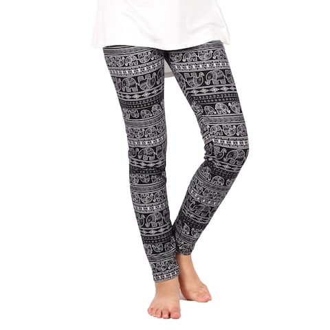 Lori & Jane Girls Black White Elephant Print Soft Stretchy Leggings