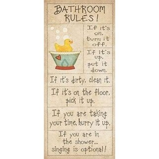 Family Bathroom Rules Poster Print by Jo Moulton, 10 x 20 -