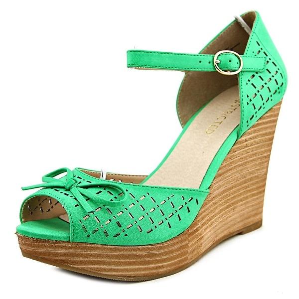Restricted Melrose Women Open Toe Leather Green Wedge Heel