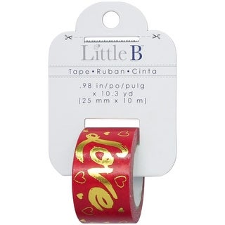 Little B Decorative Foil Tape 25mmX10m-Gold Foil Red Love
