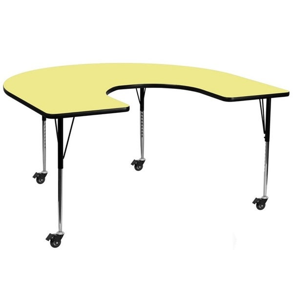 "Offex 60""W x 66""L Mobile Horseshoe Activity Table with Yellow Thermal Fused Laminate Top and Standard Height Adjustable Legs"