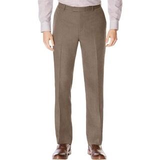Perry Ellis Mens Big & Tall Casual Pants Subtle Plaid Flat Front - 40/36