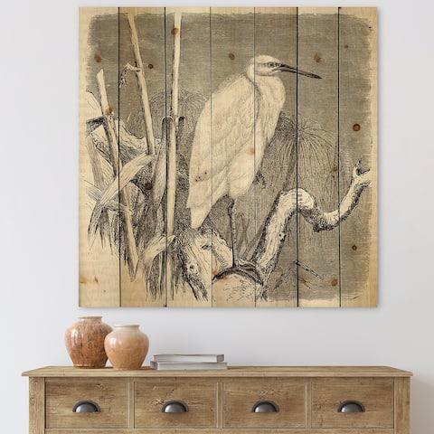 Designart 'Little Egret Bird' Farmhouse Print on Natural Pine Wood