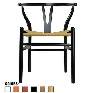 2xhome Black Wishbone Modern Style Wood Armchair - Dining Room Chair with Natural Papercord Woven Seat