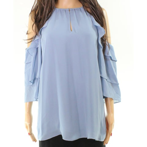 Parker Ruffled Off-Shoulder Womens Large Keyhole Top Blouse