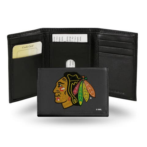 Chicago Blackhawks Wallet Trifold Leather Embroidered
