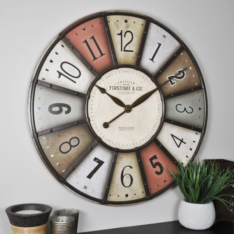 FirsTime & Co.® Color Motif Farmhouse Wall Clock, American Crafted, Multi-Color, Wood, 27 x 2 x 27 in - 27 x 2 x 27 in