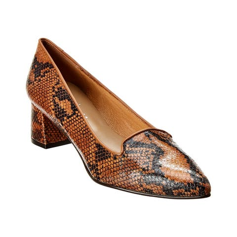 French Sole Josephine Snake-Embossed Leather Pump