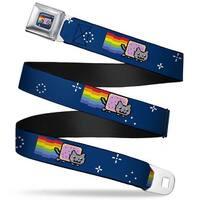 Nyan Cat Blue Full Color Nyan Cat Flying In Space Blue Webbing Seatbelt Seatbelt Belt