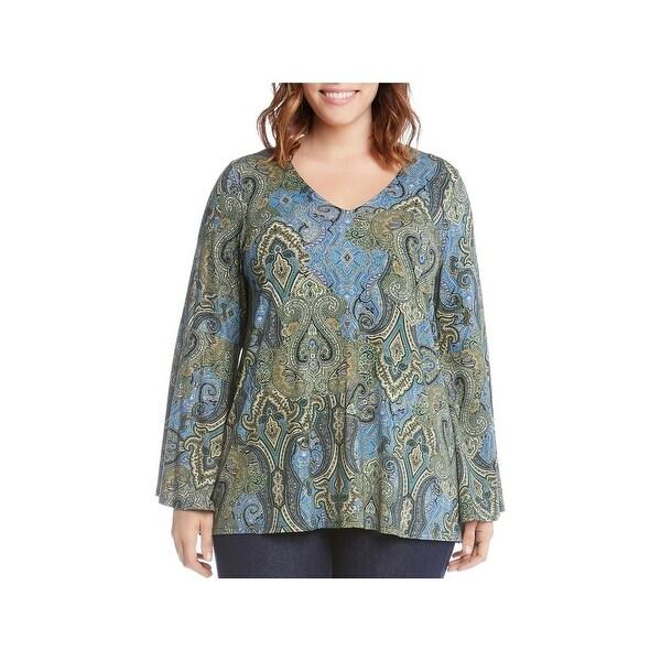 c8626396610 Shop Karen Kane Womens Plus Pullover Top Bell Sleeves Jacquard Print ...