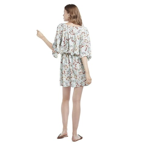 Our Heritage - Women's Printed V-Neck Kimono-Style Mini Dress with 3/4 Sleeve... - X-Large