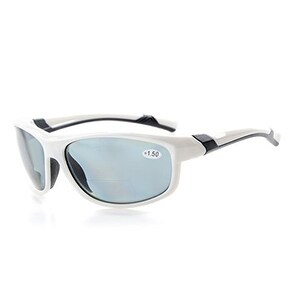 Eyekepper TR90 Polarized Bifocal Sport Sunglasses White Frame Grey Lens+1.5