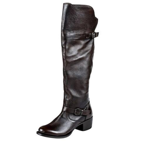 """Stetson Western Boots Womens 20"""" Knee Zipper Brown"""