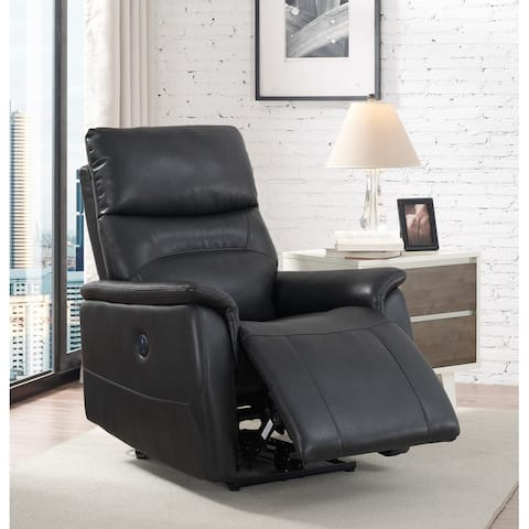 Ryan Grey Faux Leather Power Recliner Chair