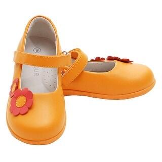 Tangerine Double Daisy Velcro Strap Sandal Shoes Toddler Little Girls 5-2