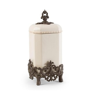 """16"""" Cream White and Brown Vintage-Inspired Canister with Fleur-de-lis Metal Base"""