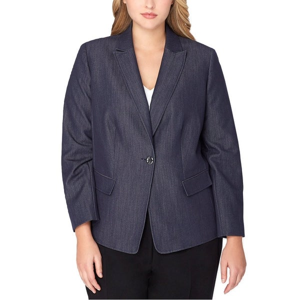 43b3e462ecd Shop Tahari ASL Plus Size Denim One Button Blazer Jacket Chambray Blue -  20W - Free Shipping On Orders Over  45 - Overstock.com - 21158738