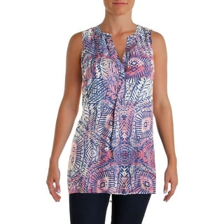 Beach Lunch Lounge Womens Printed Hi-Low Casual Top