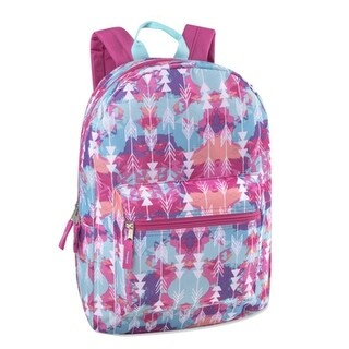 """Girls Blue Pink Feather Print Zippered Pocket Backpack 15""""x10.6""""x5"""" - One size"""